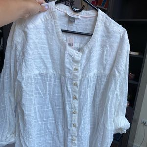 Anthropologie Tops - Anthropology XL white linen shirt